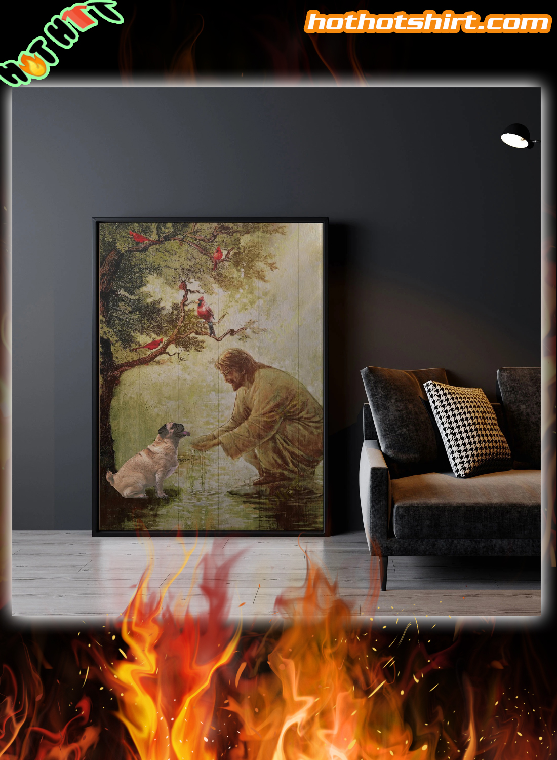 God and pug canvas printed and poster
