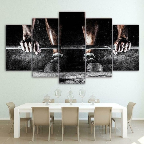 Gym Workout Weighlifting Exercise 5 Piece Canvas