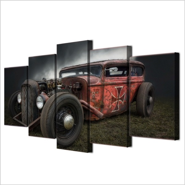 Hot Rod Vintage Car 5 Piece Canvas Print