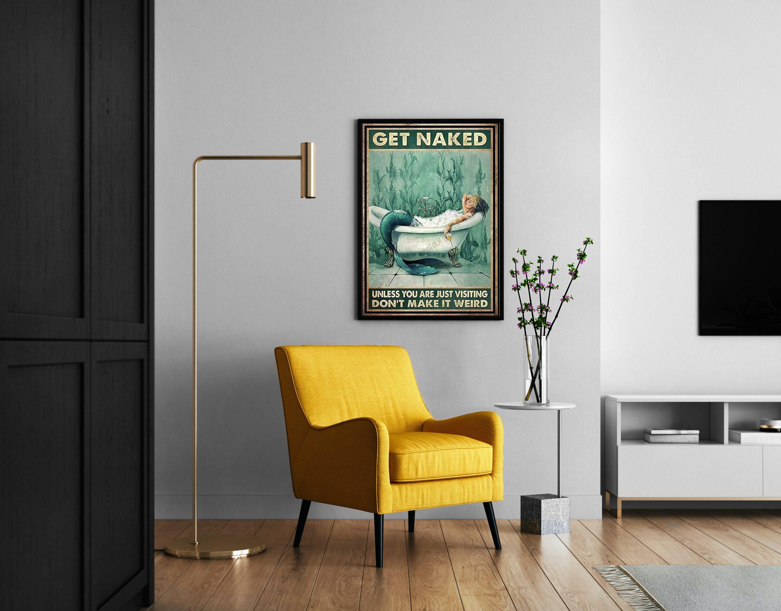 Mermaid get naked in bathroom canvas print