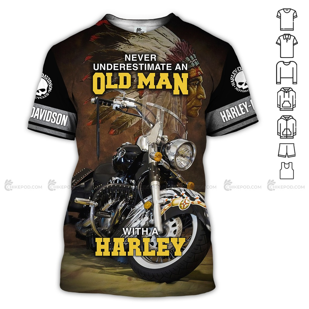 Never Underestimate An Old Man With A Harley 3D All Over Printed Hoodie