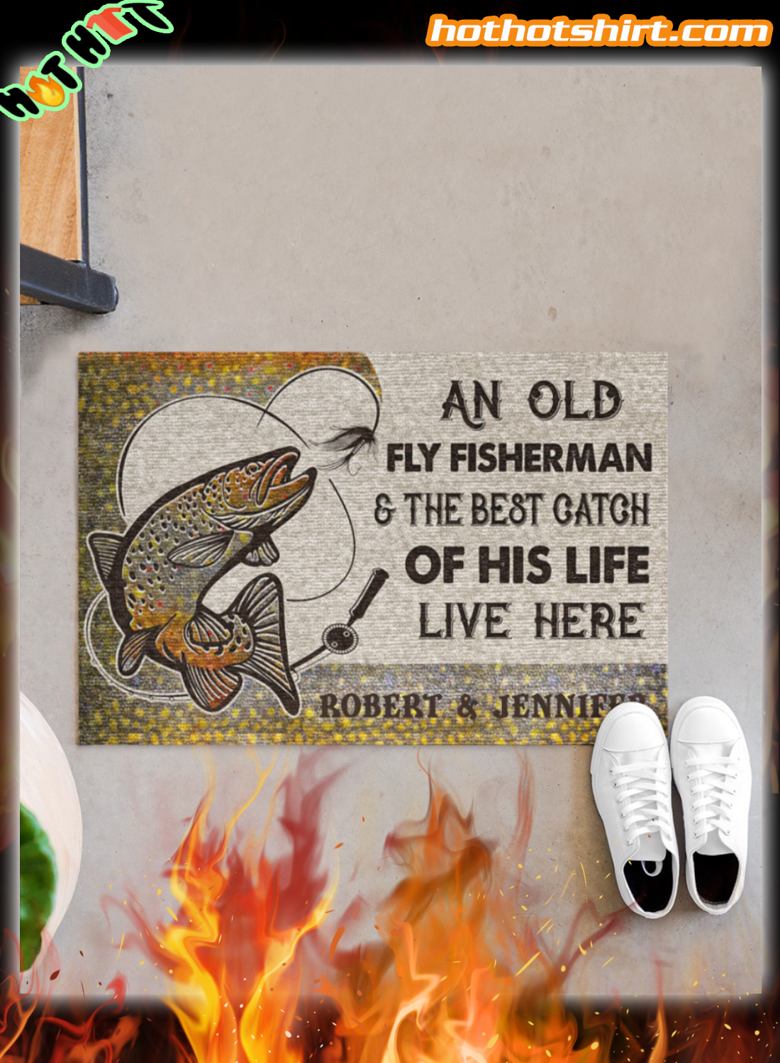 Personalized An old fly fisherman and the best catch of his live live here doormat
