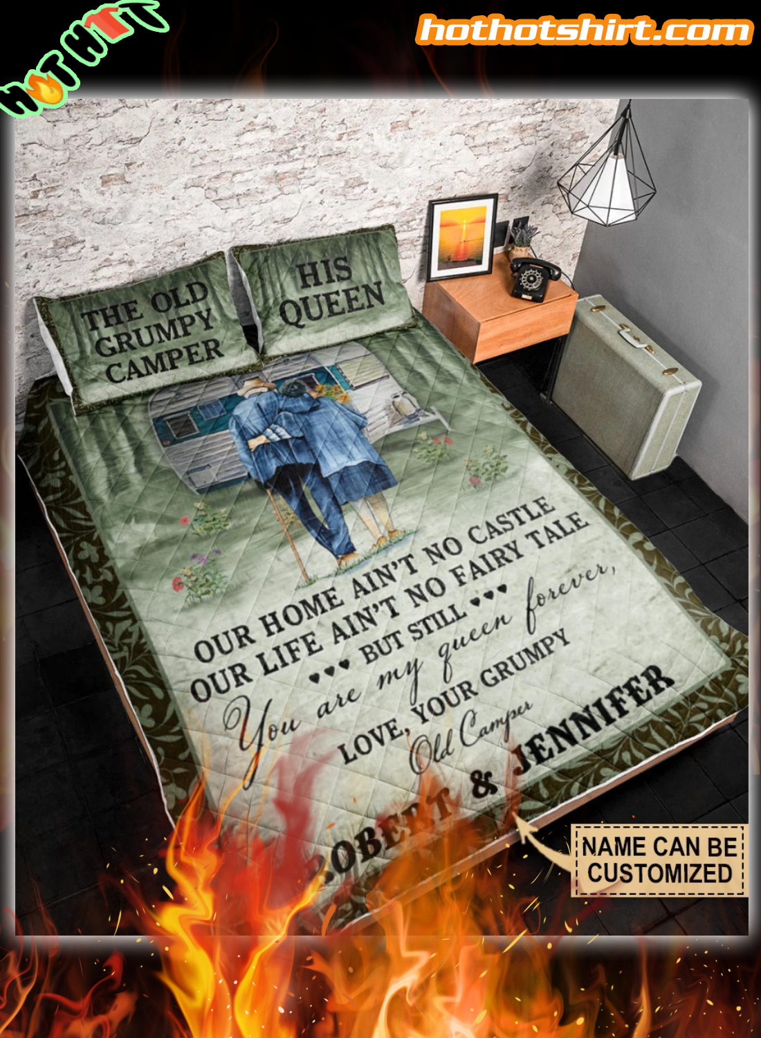 Personalized Camping Our Home Ain't No Castle Customized Bedding Set
