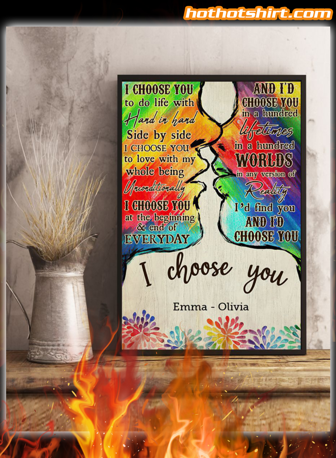 Personalized Custom Name LGBT Kiss I Choose You Poster