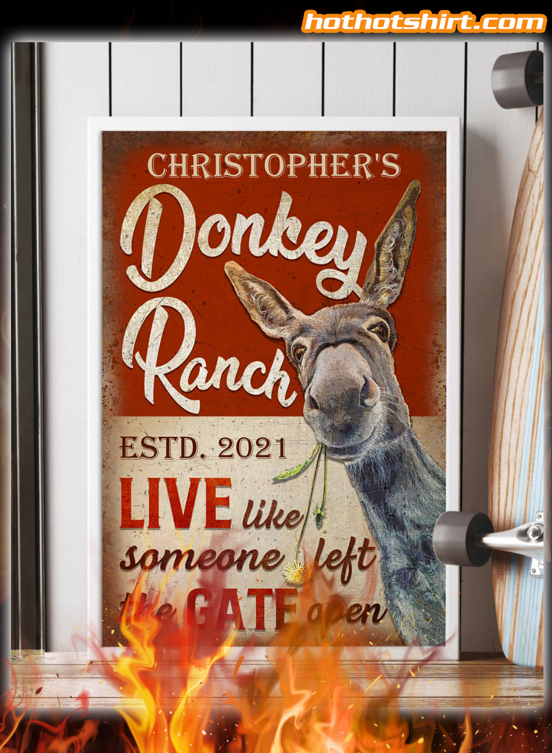 Personalized Donkey Ranch The Gate Open Poster