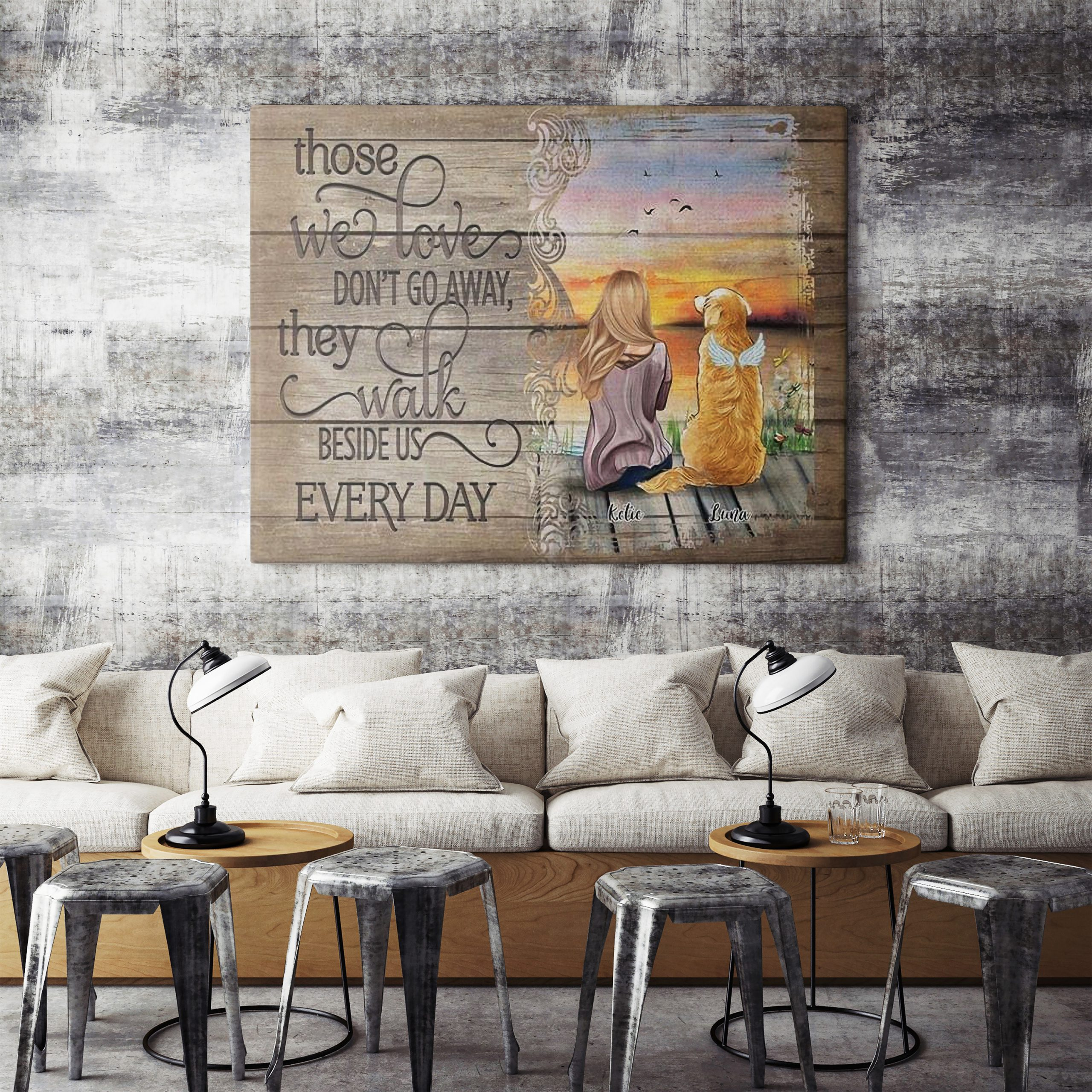 Personalized Girl with dog those we love don't go away poster