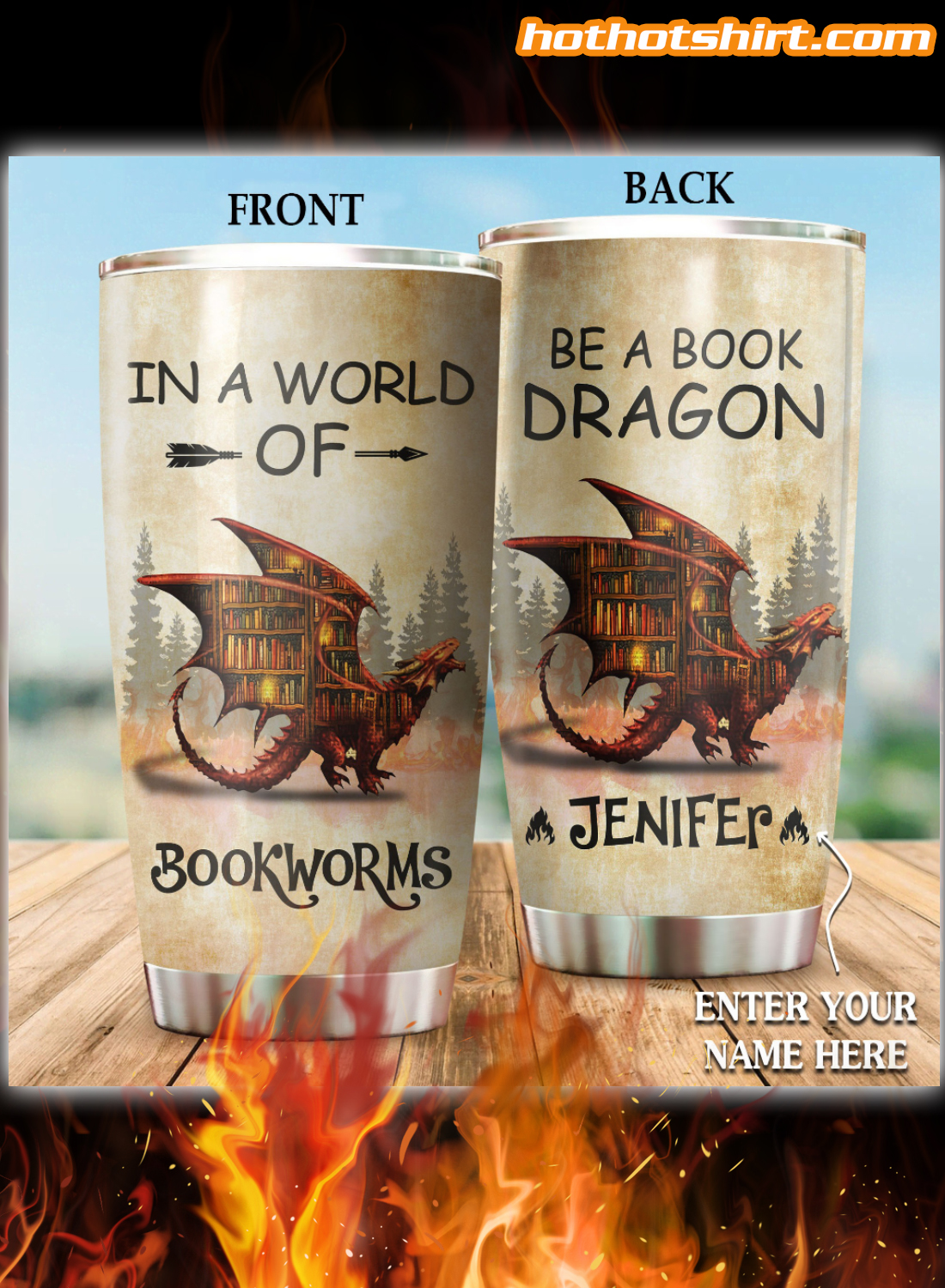 Personalized In a world of bookworms be a book dragon tumbler