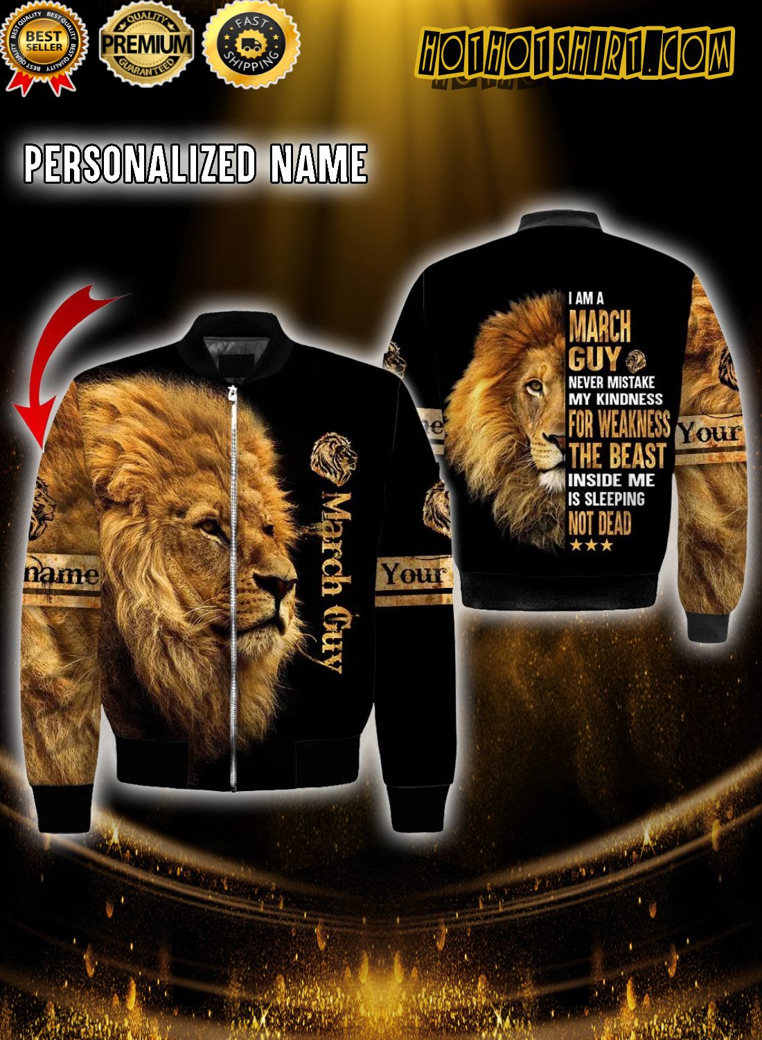 Personalized Name Lion I am a march guy never mistake my kindness 3D Hoodie 3