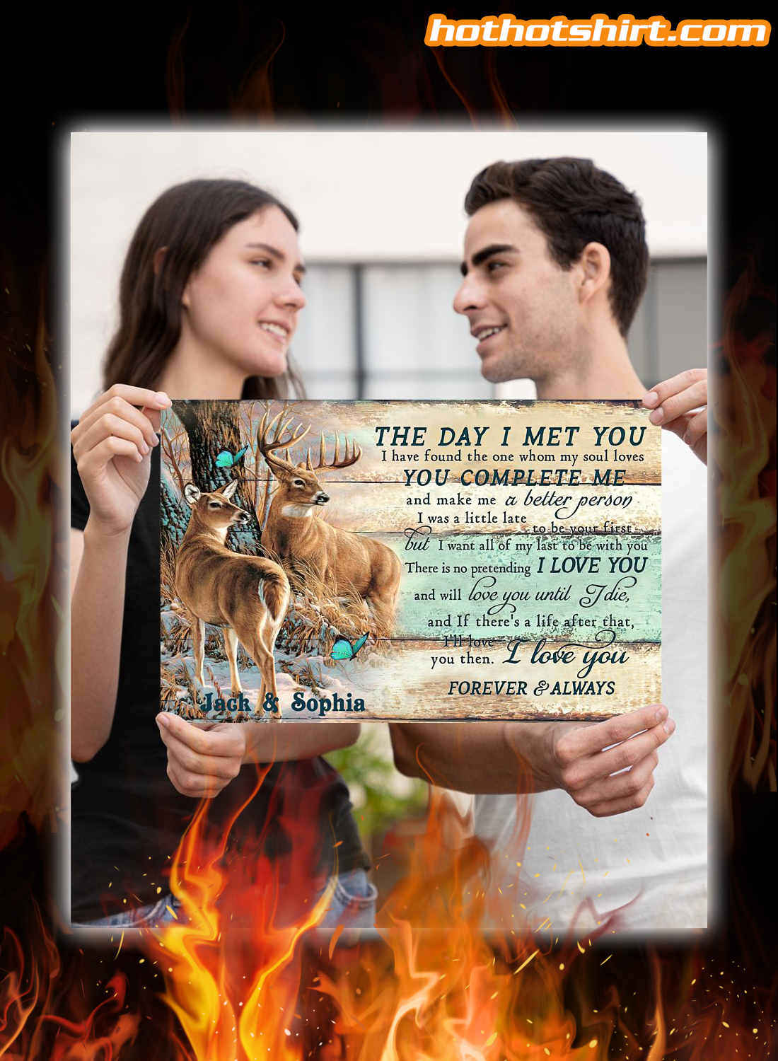 Personalized custom name Deer Couple The Day I Met You Poster