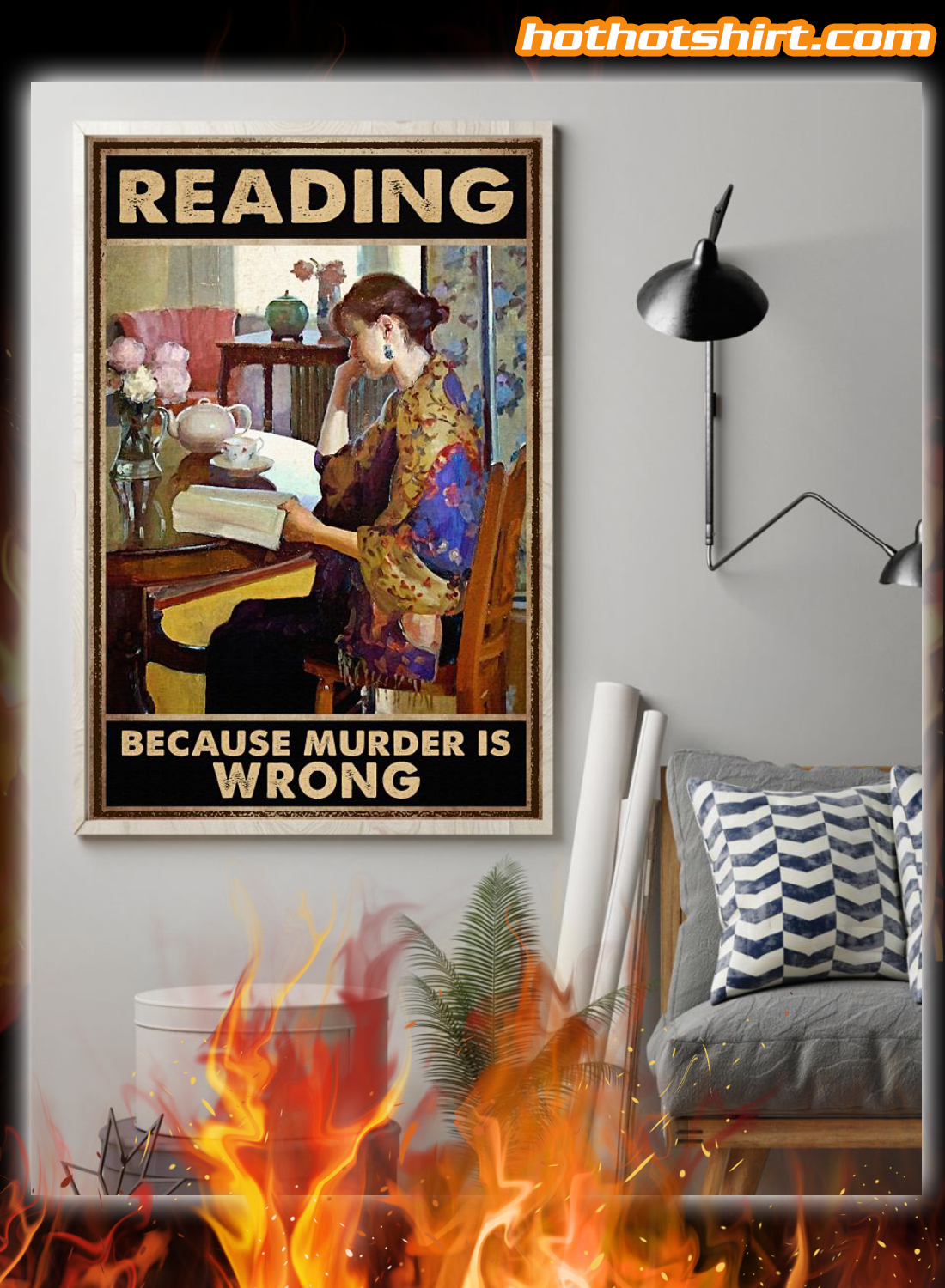 Reading because murder is wrong poster and canvas