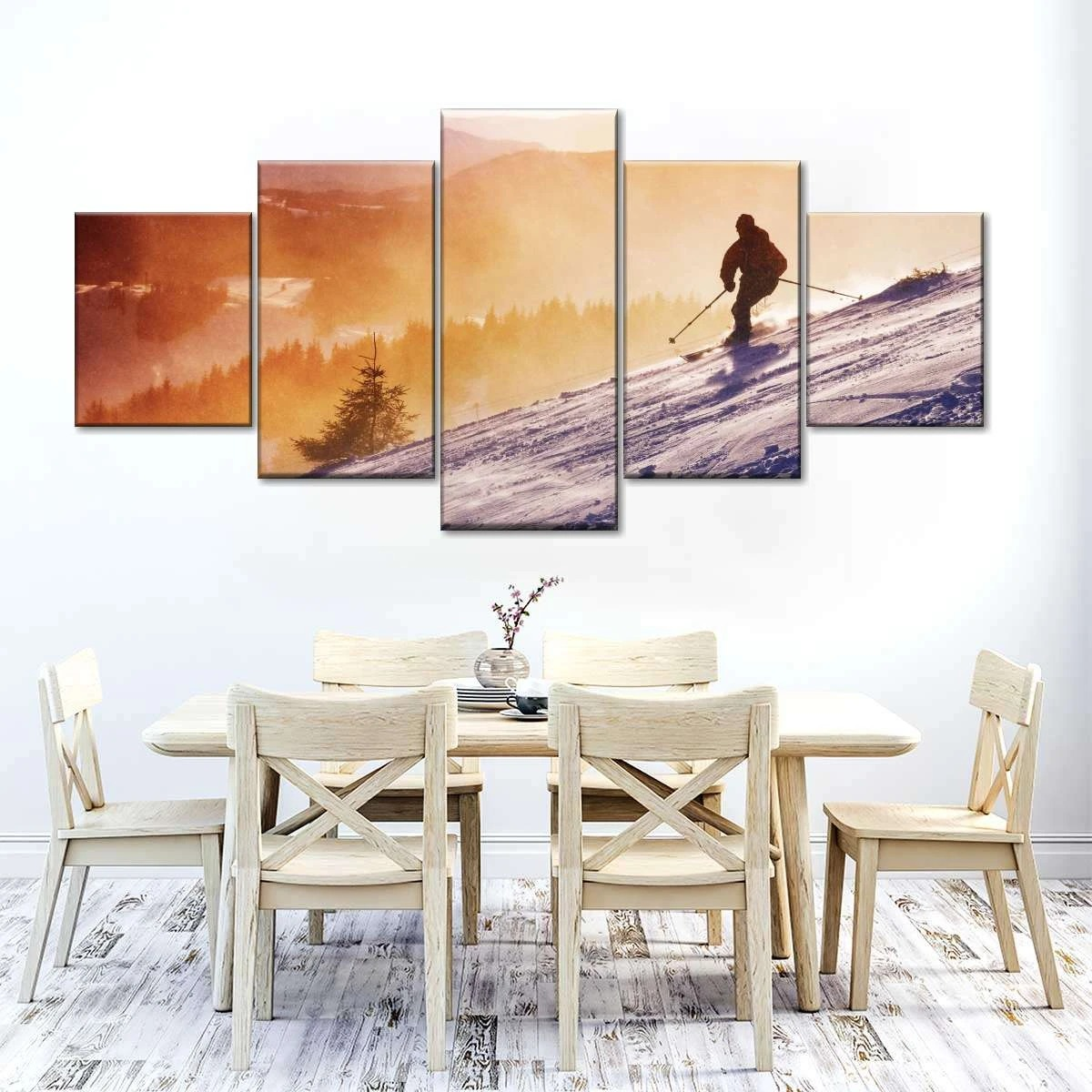 Sunset Skiing Lover 5 Piece Canvas