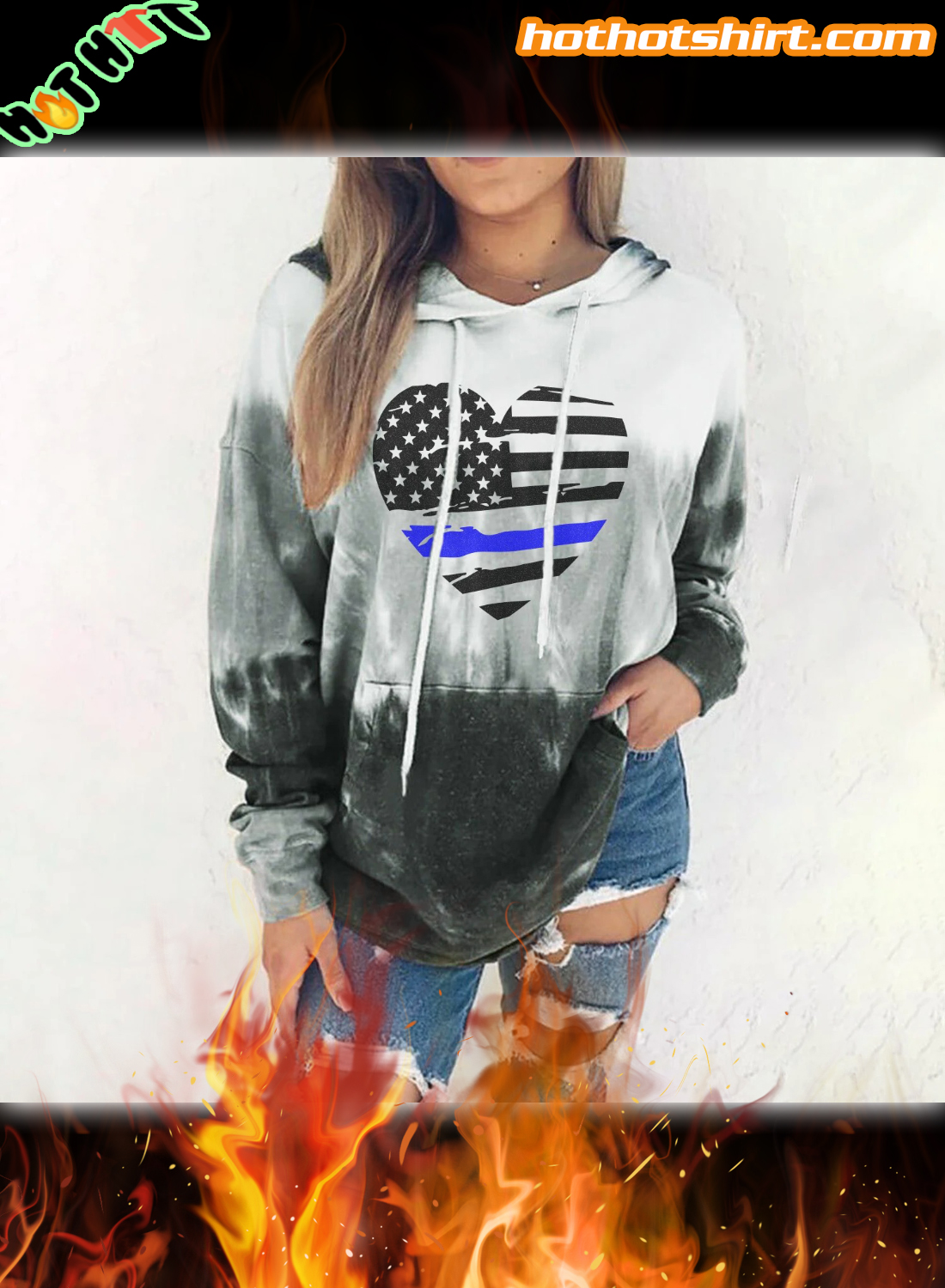 Thin Blue Line Heart Gradient 3D All Over Printed Hoodie