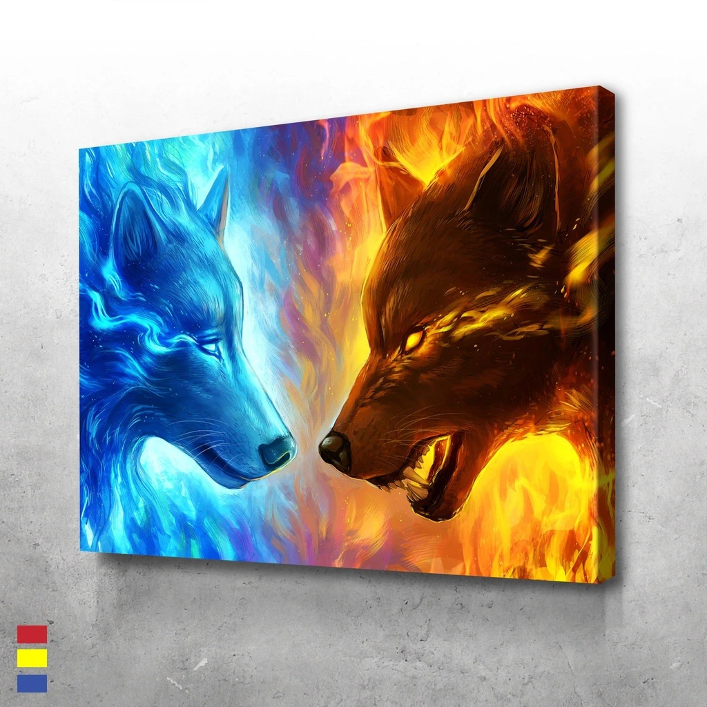 Wolf fire and ice poster and canvas