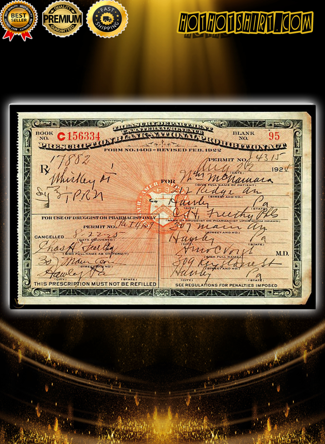 1924 Prescription for Whiskey During Prohibition Poster