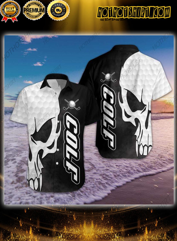 Black And White Golf Skull Hawaiian Shirt