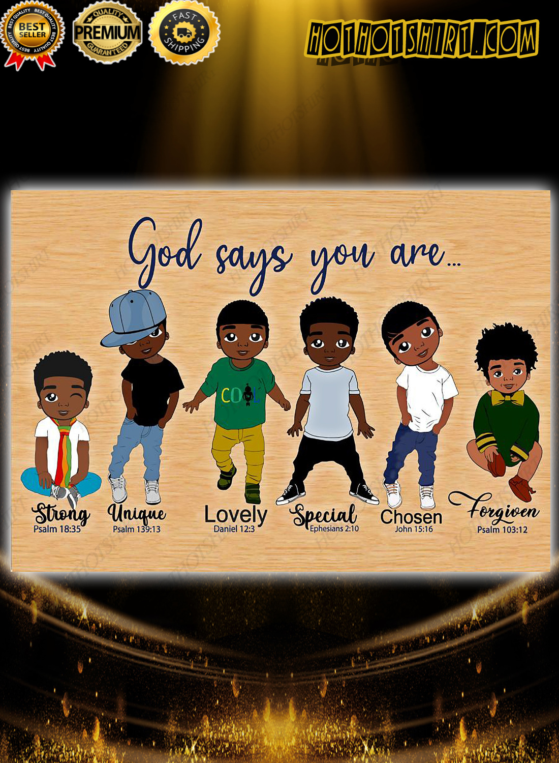 Black Childs God Says You Are Strong Unique Poster