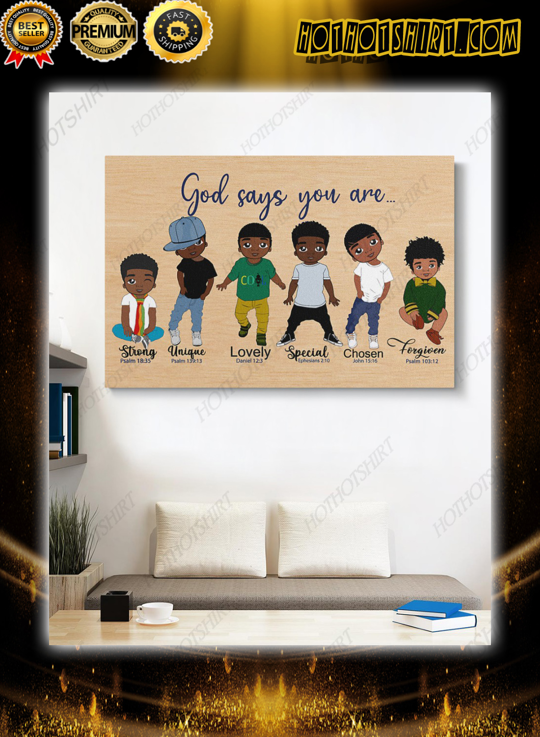 Black kids god say you are bible poster 2