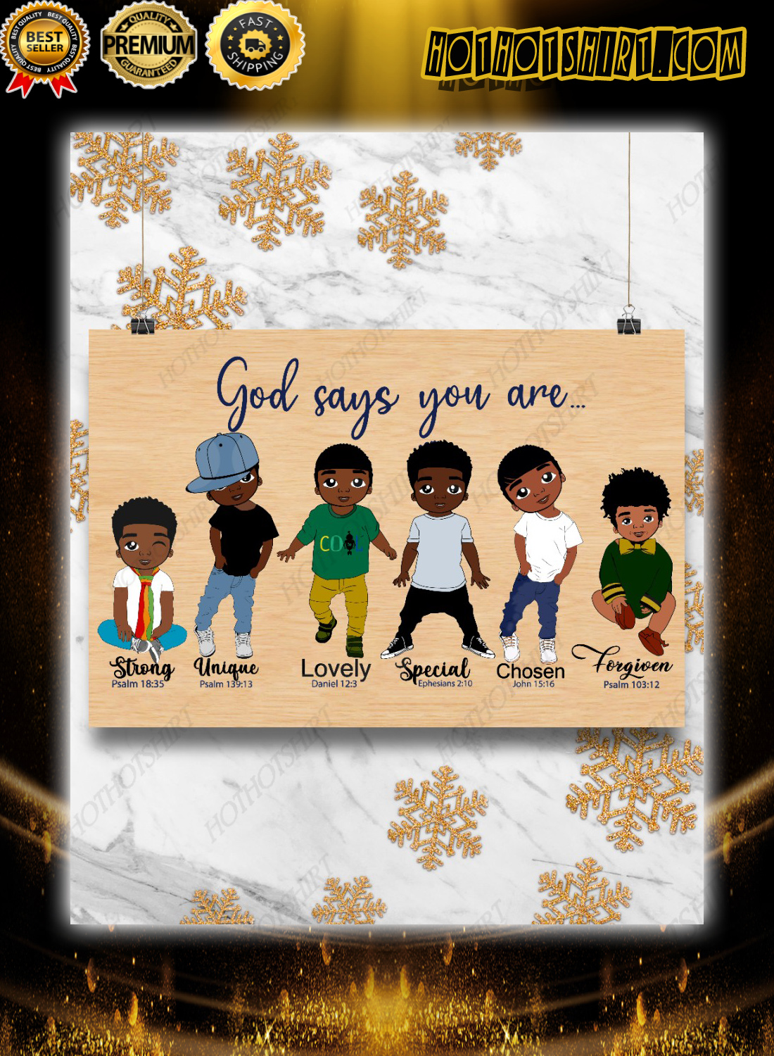 Black kids god say you are bible poster 3