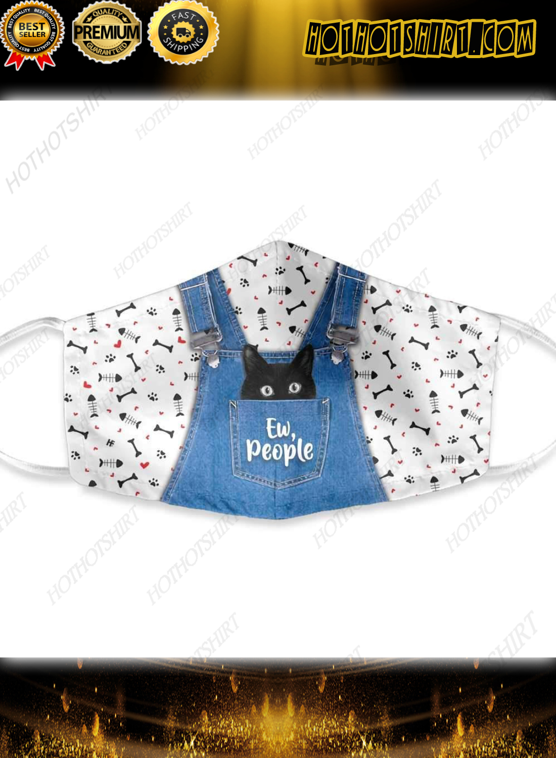 Cat ew people dungarees face mask
