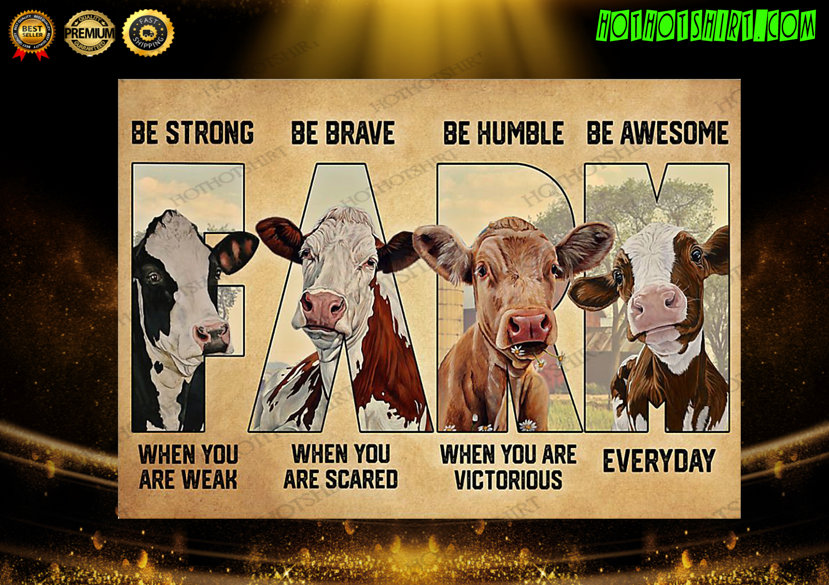 Cow farm be awesome everyday poster