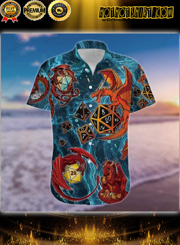 Dungeons Dragon Playing Dice Blue Hawaiian Shirt 1