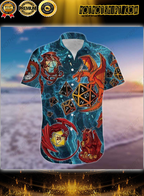 Dungeons Dragon Playing Dice Blue Hawaiian Shirt