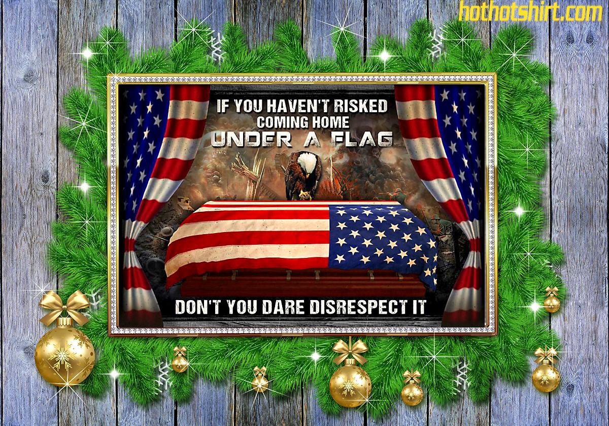 Eagle Veteran Under a american flag poster