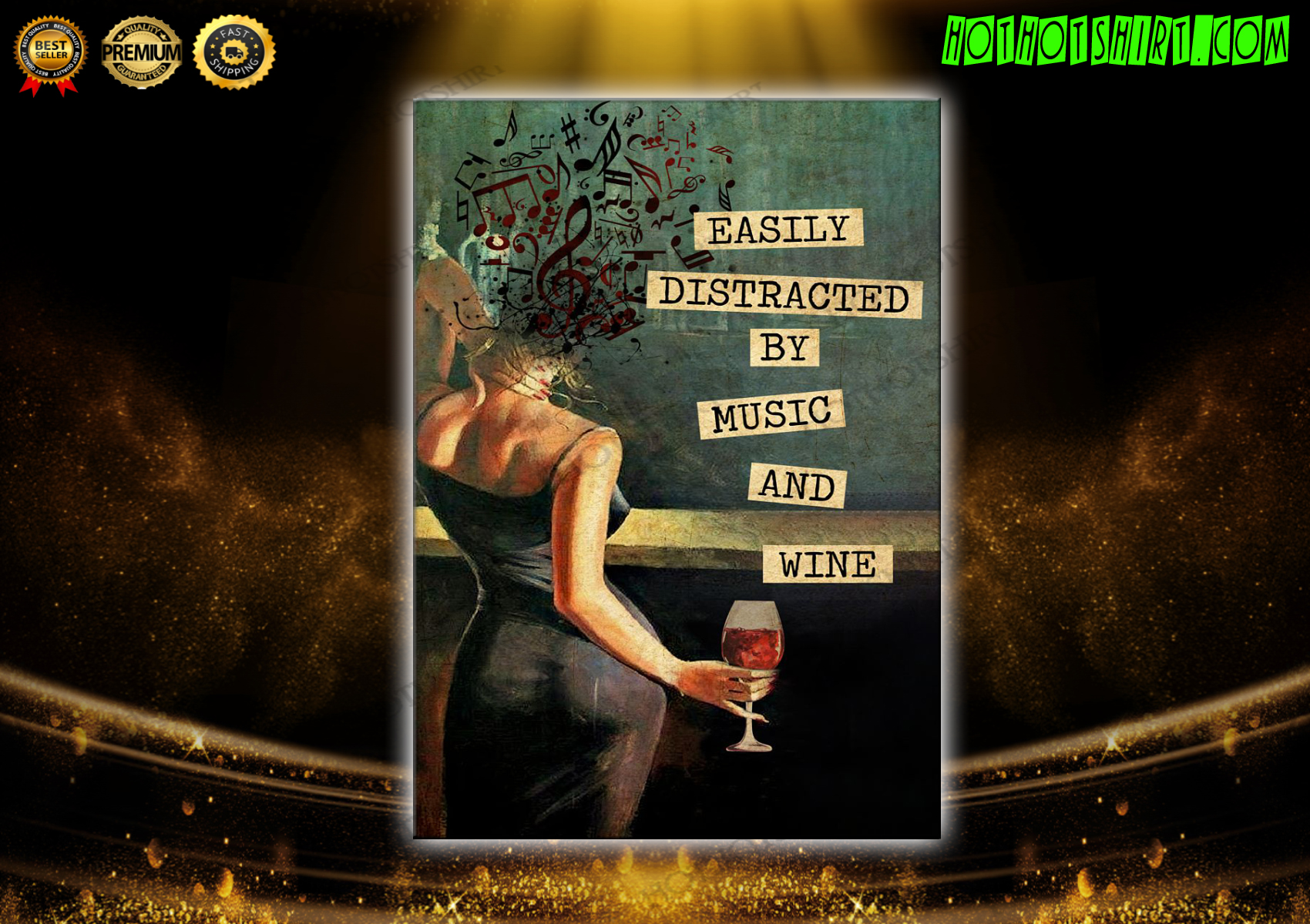 Easily Distracted By Music And Wine Vintage Text Poster