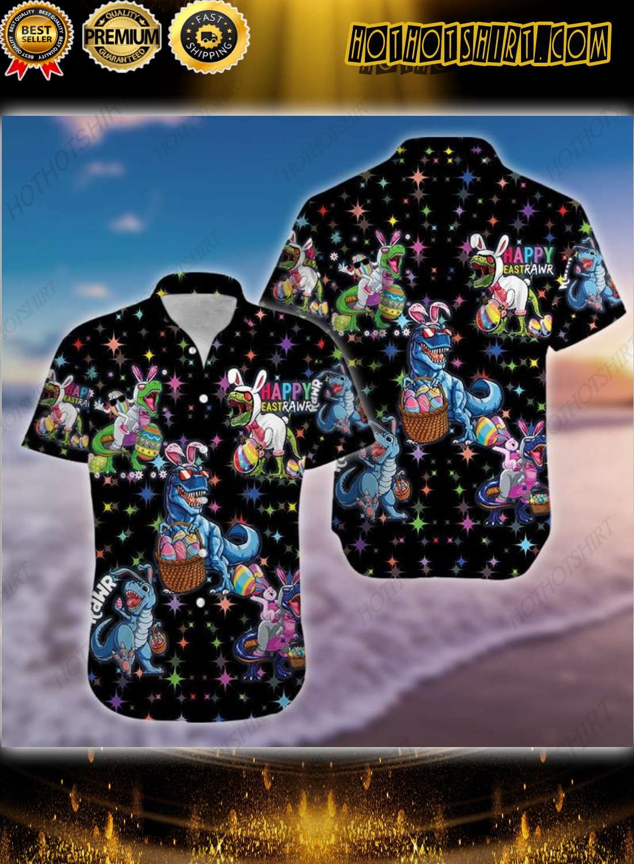 Happy Easter Raws T-rex Dinosaur Black Hawaiian Shirt 1