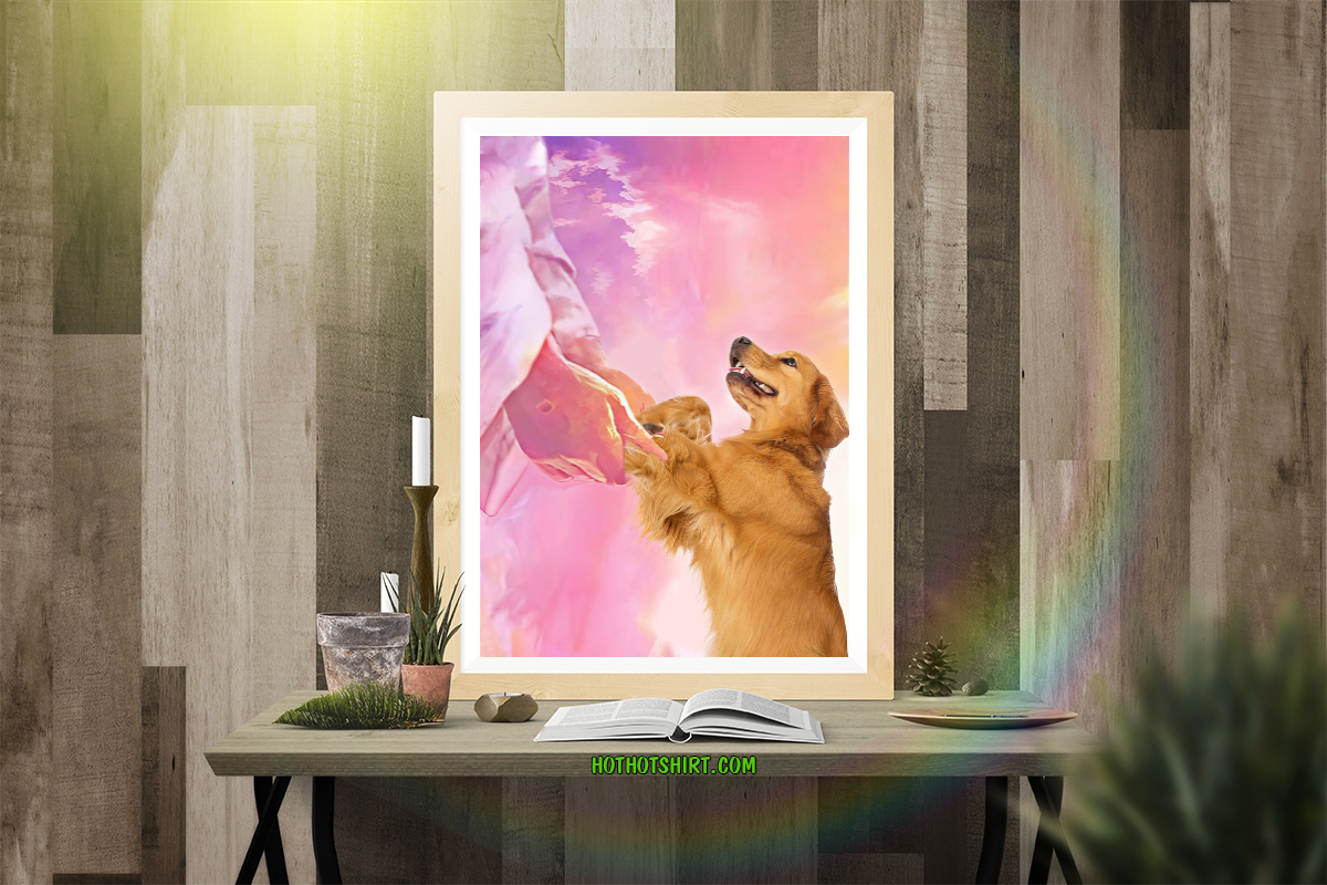 Jesus and golden retriever to the beautiful world poster 1