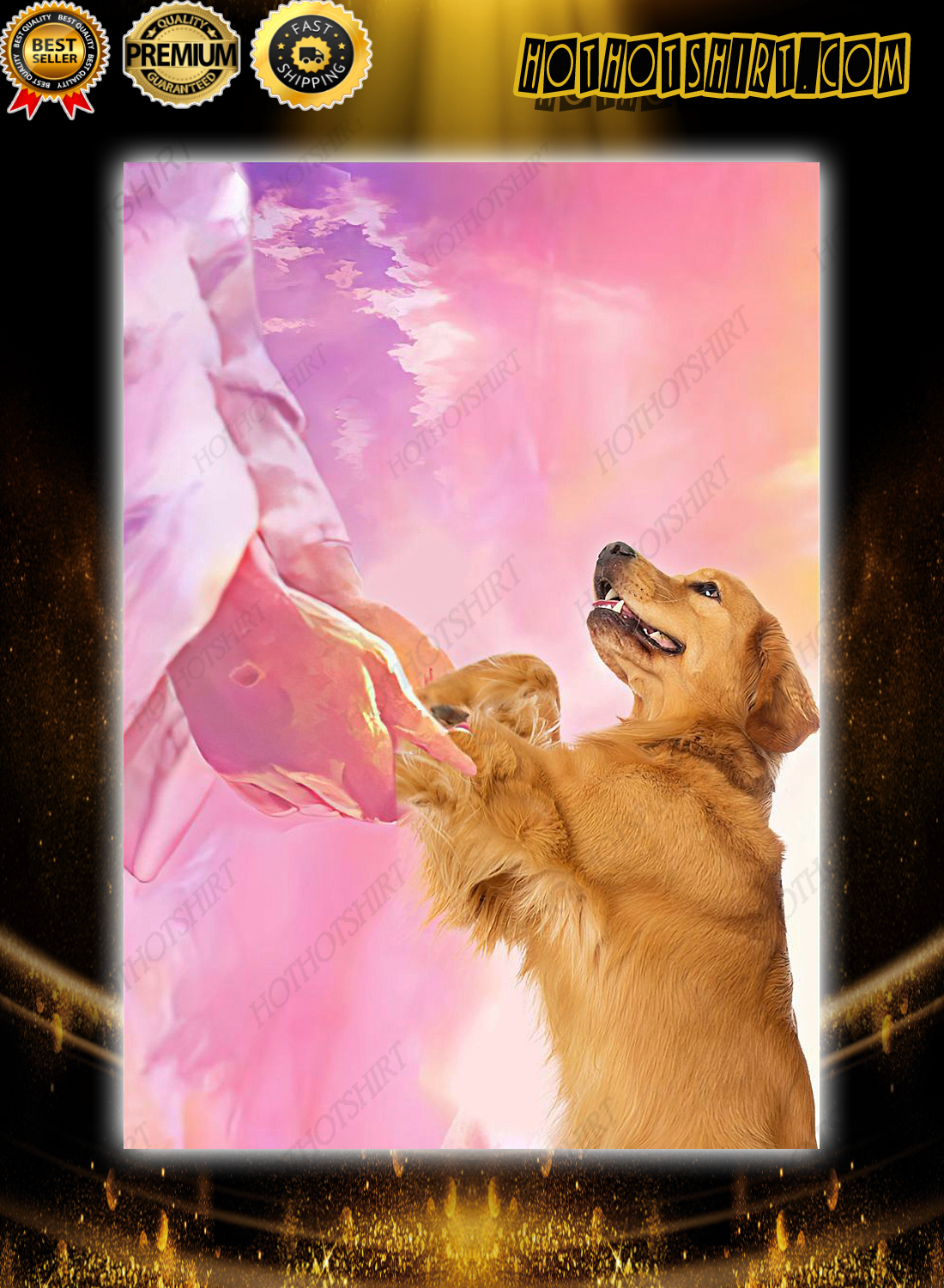 Jesus and golden retriever to the beautiful world poster 3