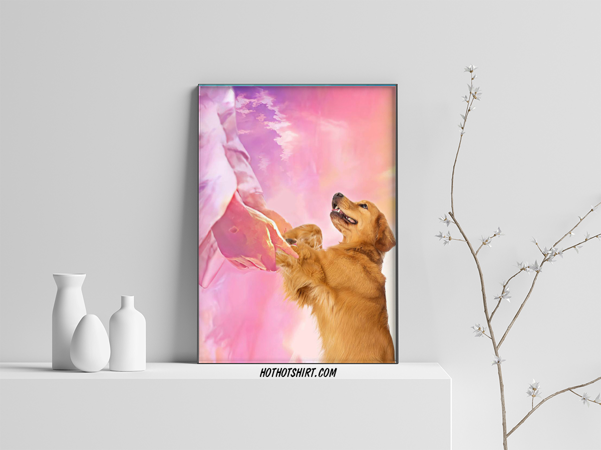 Jesus and golden retriever to the beautiful world poster