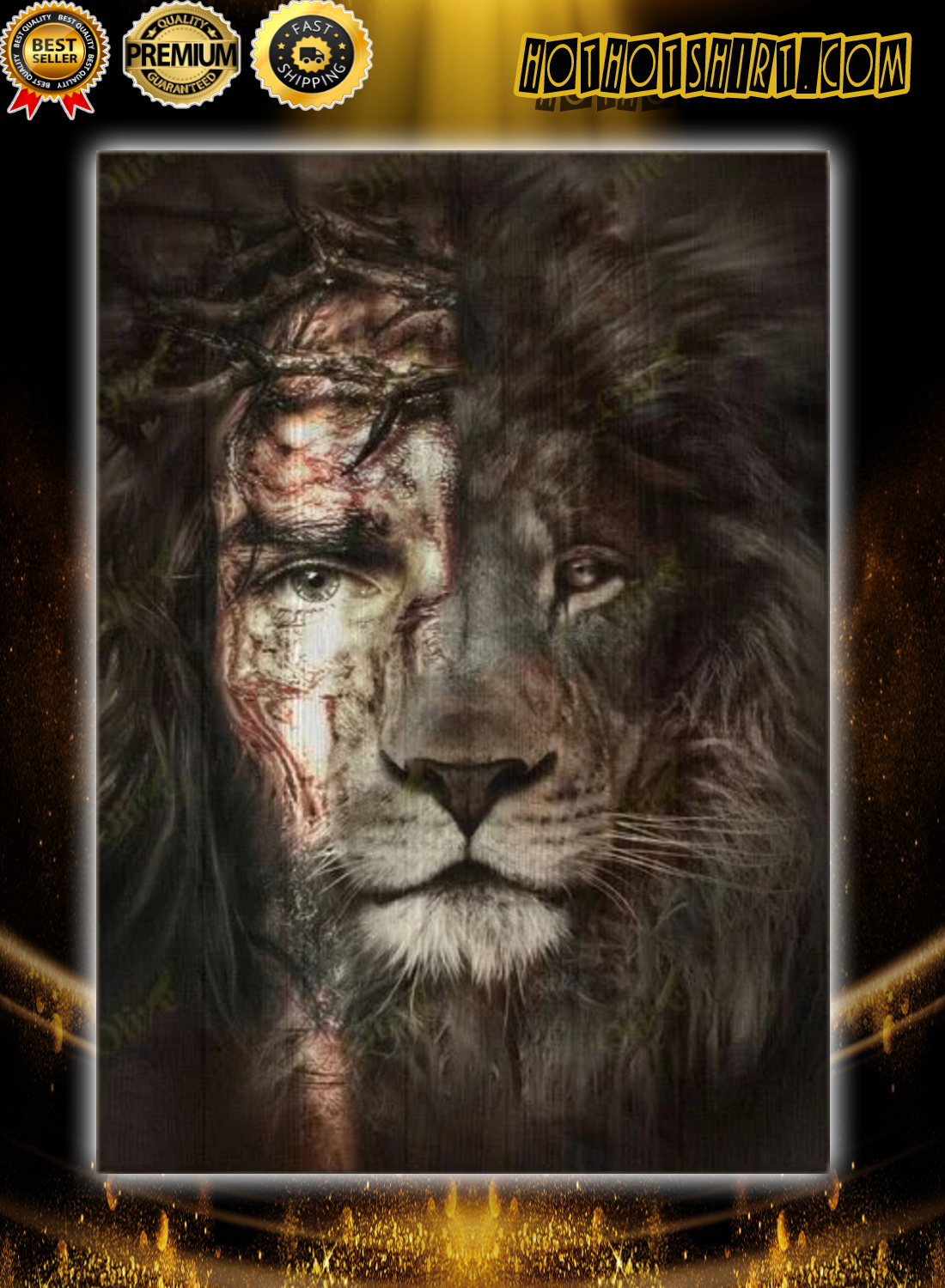 Jesus and lion poster