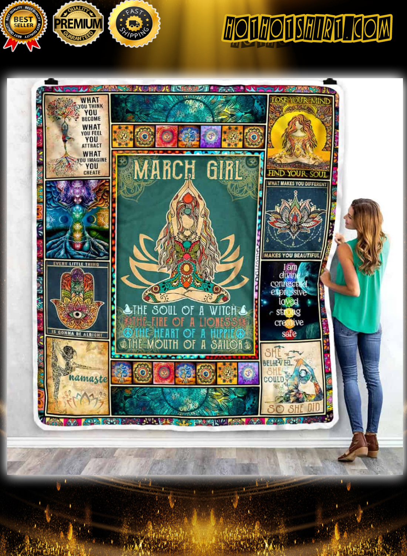 March Girl Yoga Namaste Blanket