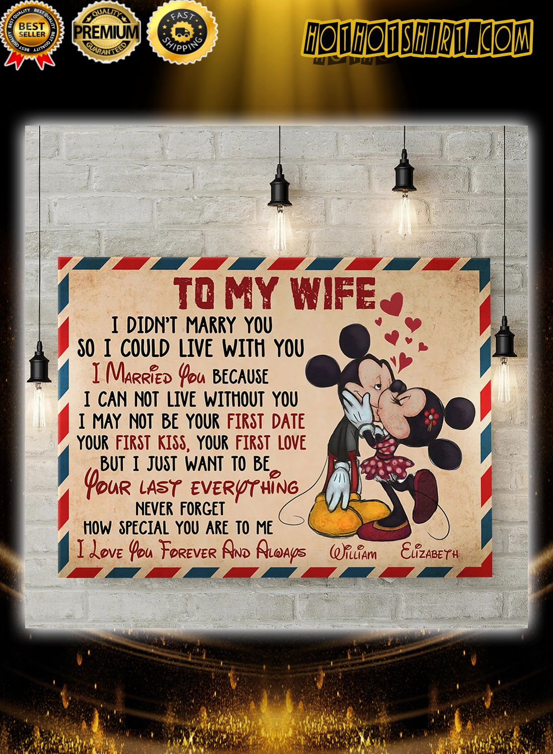 Mickey and Minnie to my wife how special you are to me personalized poster
