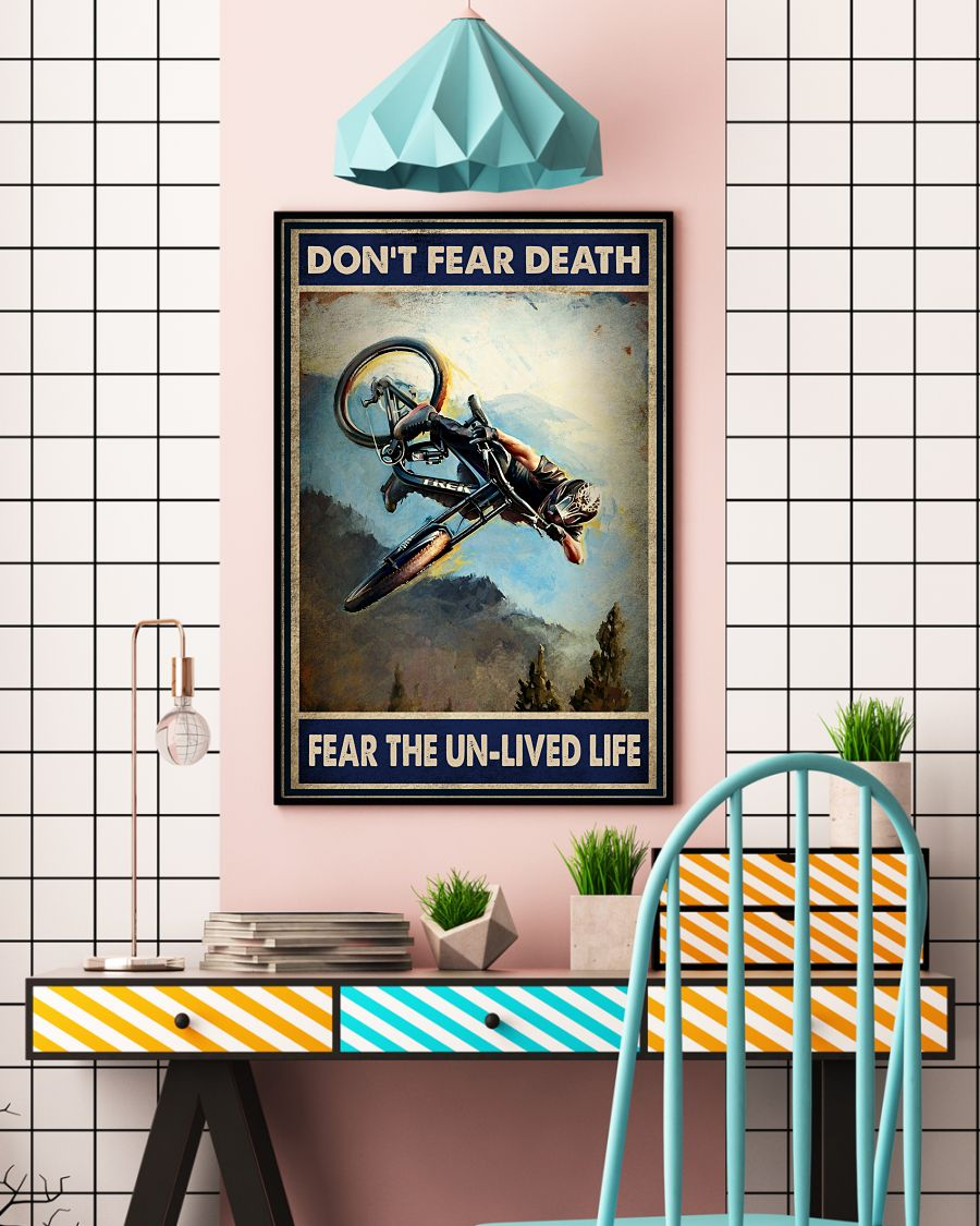 Mountain biking don't fear death fear the unlived life poster 3
