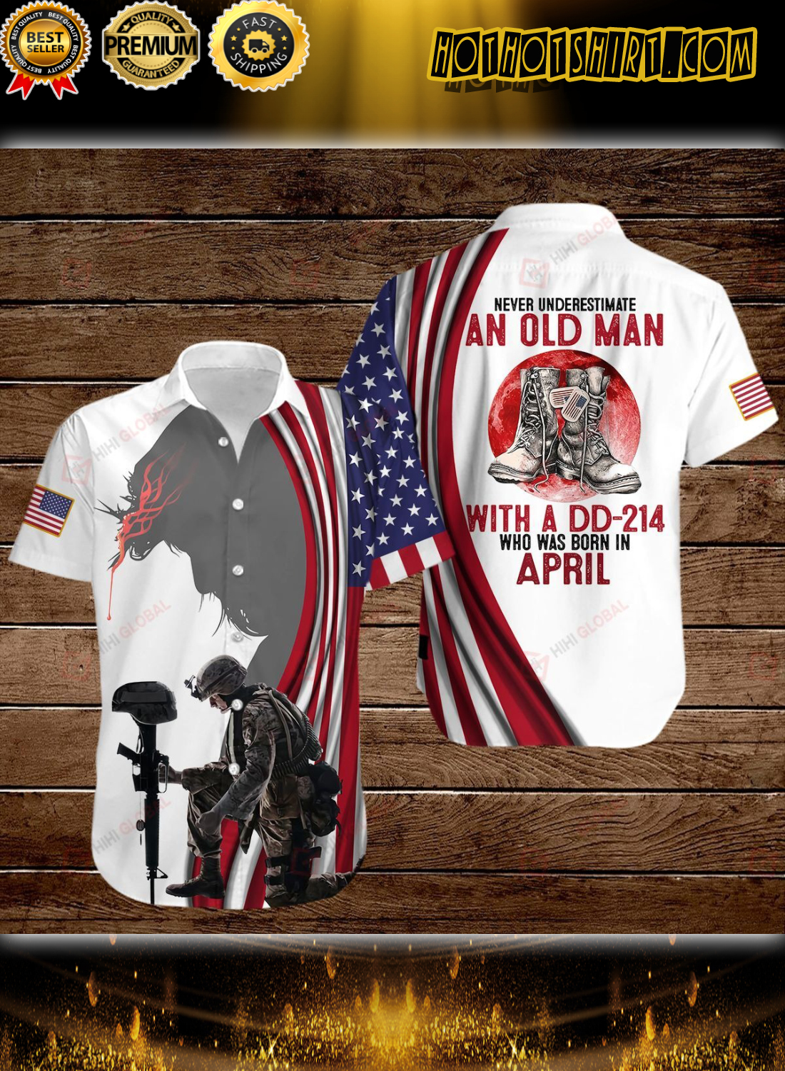 Never Underestimate An Old Man With A Dd-214 Who Was Born In April Jesus Hawaiian Shirt
