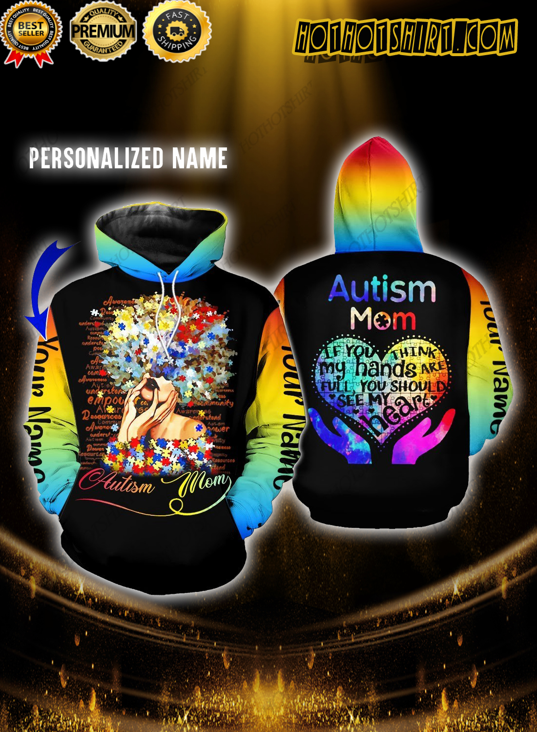 Personalize Name Autism Mom If You Think My Hands Are Full You Should See My Heart 3D Shirts