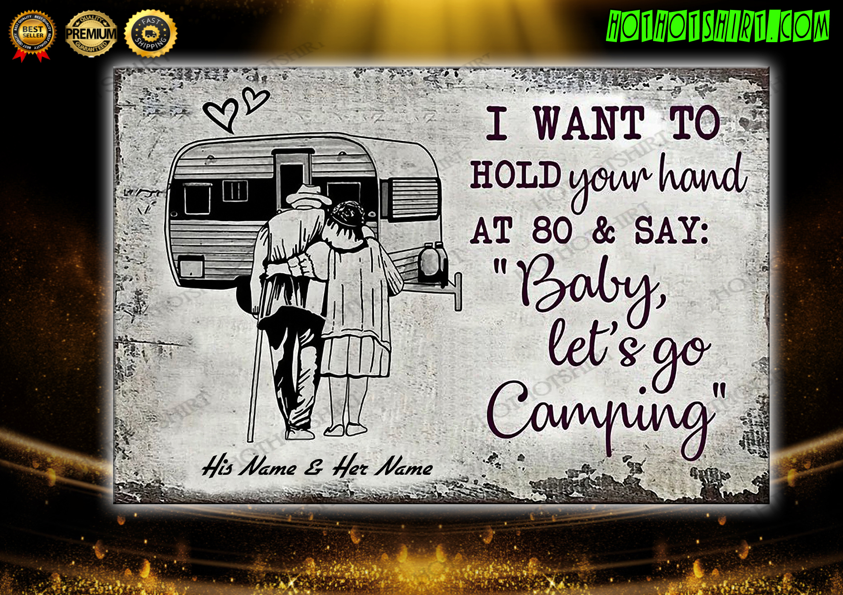 Personalized Baby let's go camping poster