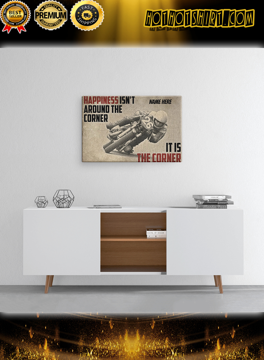 Personalized Motorcycles Happiness Isn't Around The Corner It Is Corner Canvas