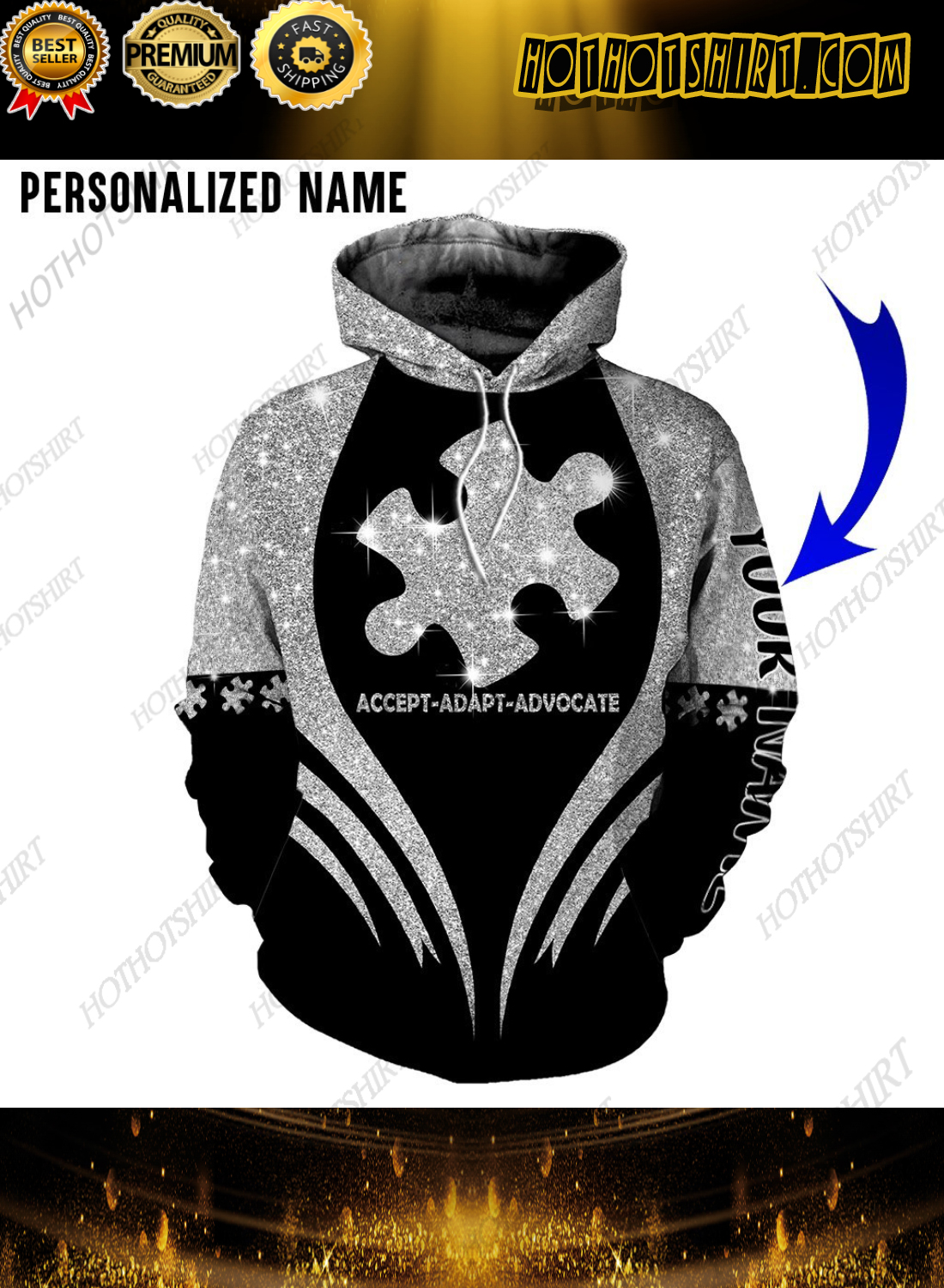 Personalized Name Autism Accept Adapt Advocate 3D Shirts