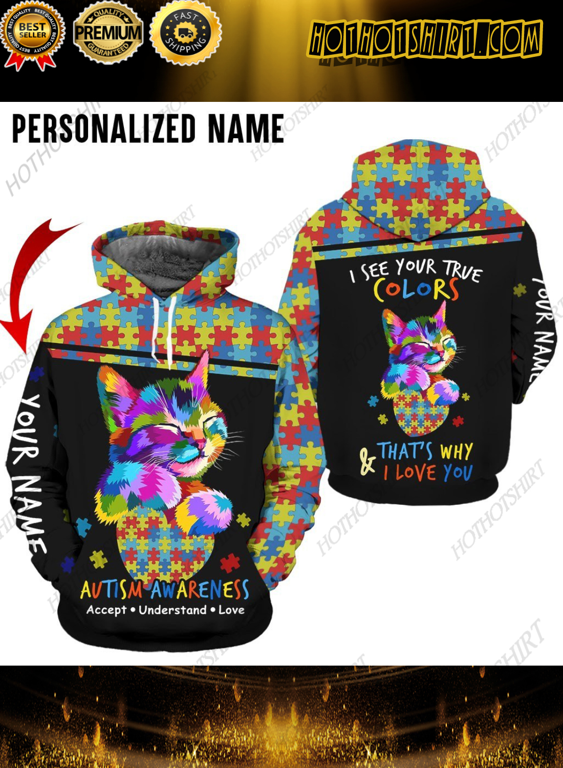 Personalized Name Autism Awareness Accept Understand Love 3D Shirts
