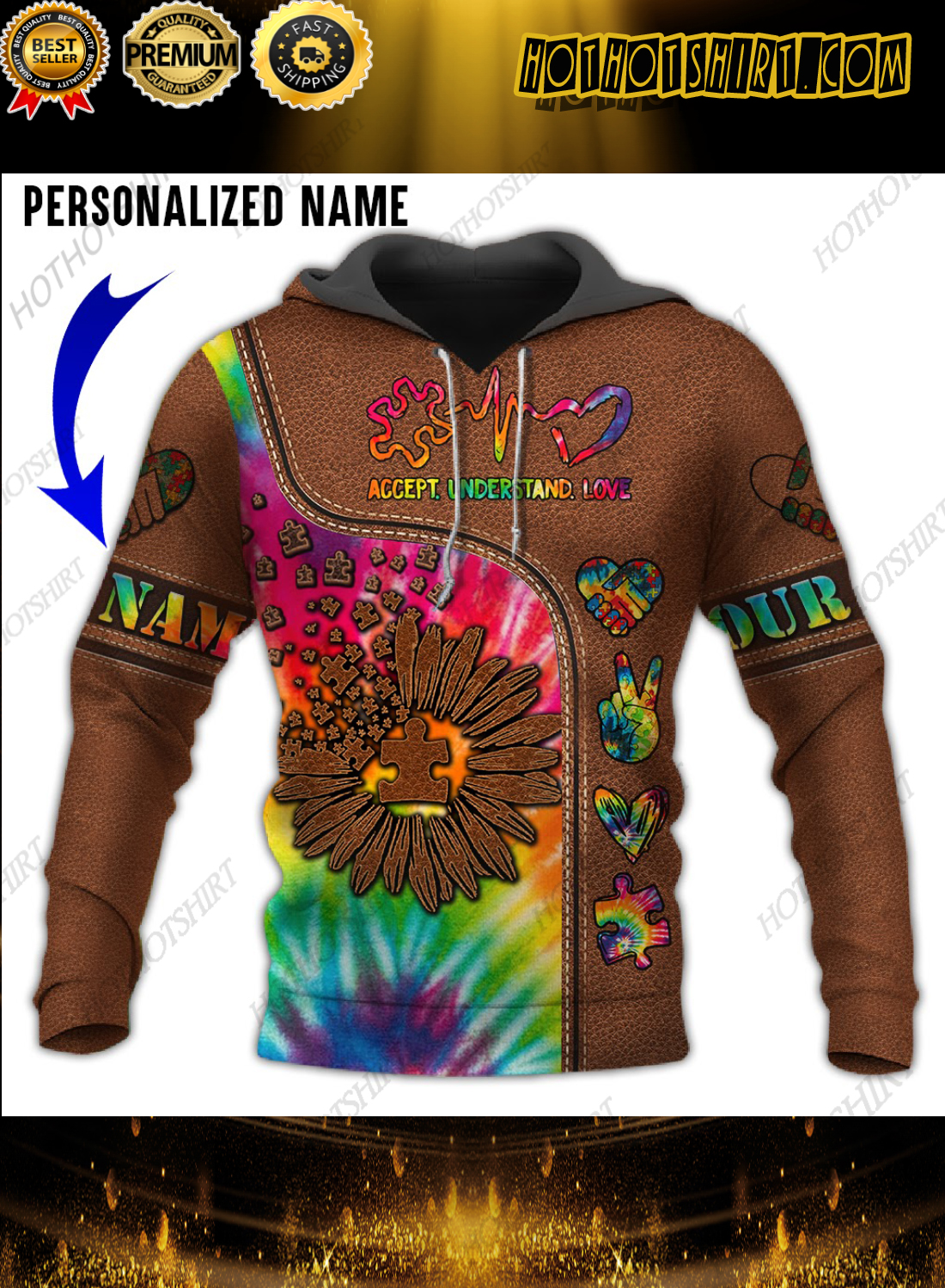 Personalized Name Autism Leather Accept Understand Love 3D Shirts
