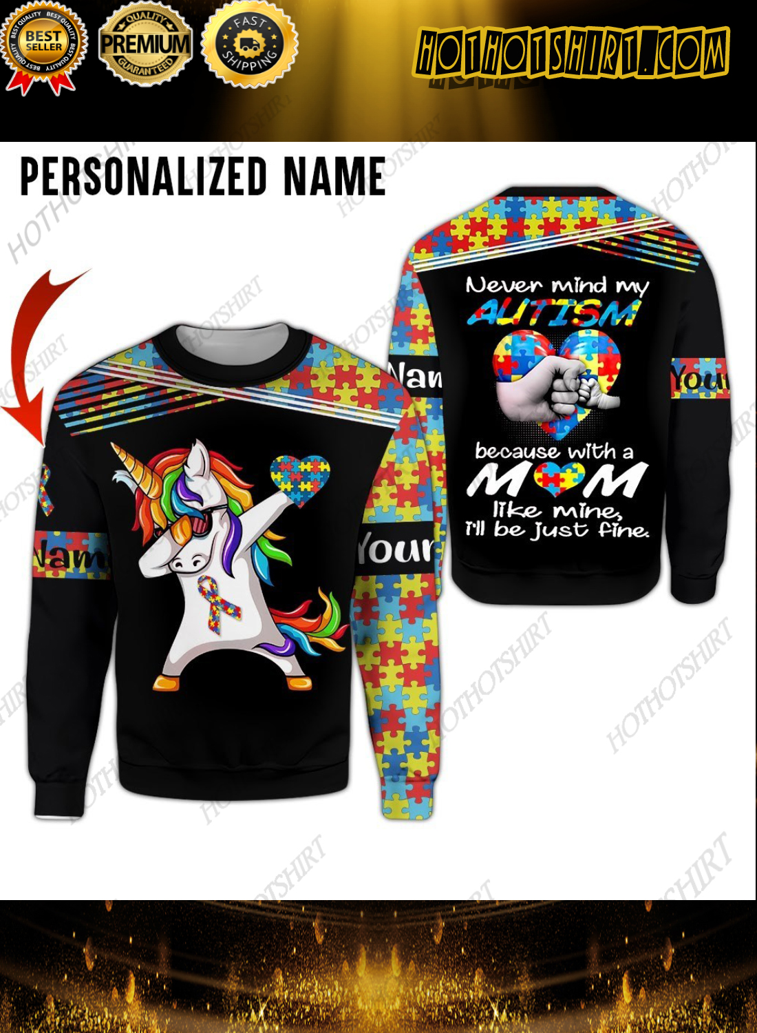 Personalized Name Unicorn Never Mind My Autism 3D Hoodie And Shirts 3