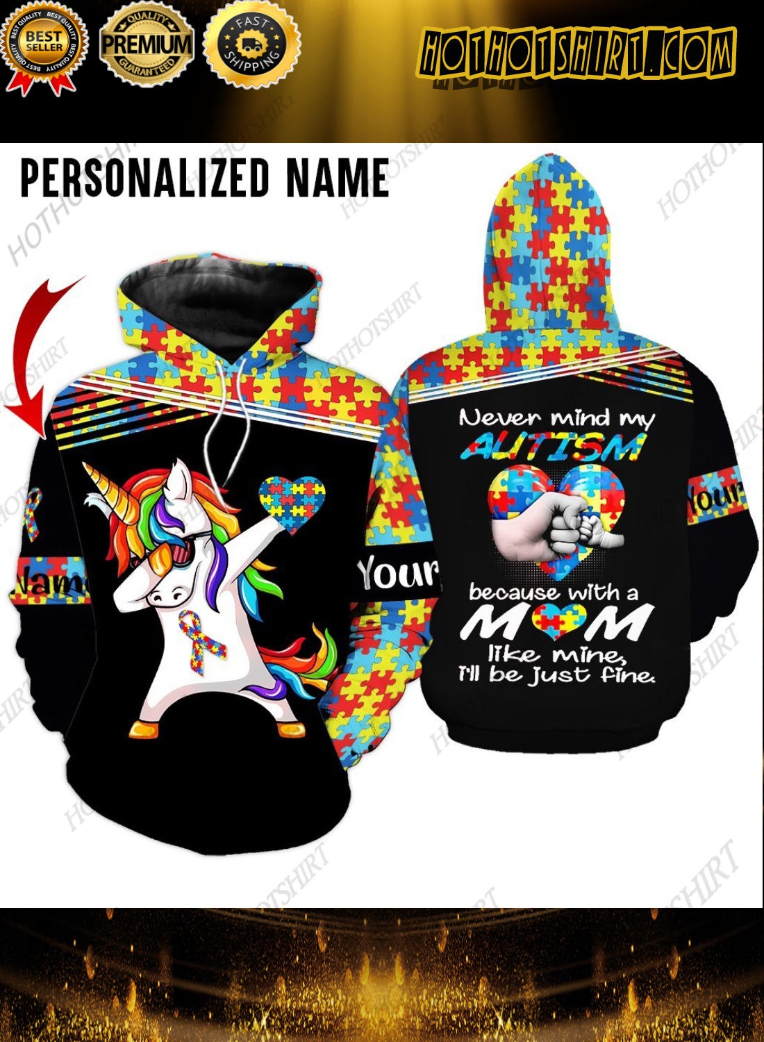 Personalized Name Unicorn Never Mind My Autism 3D Hoodie And Shirts