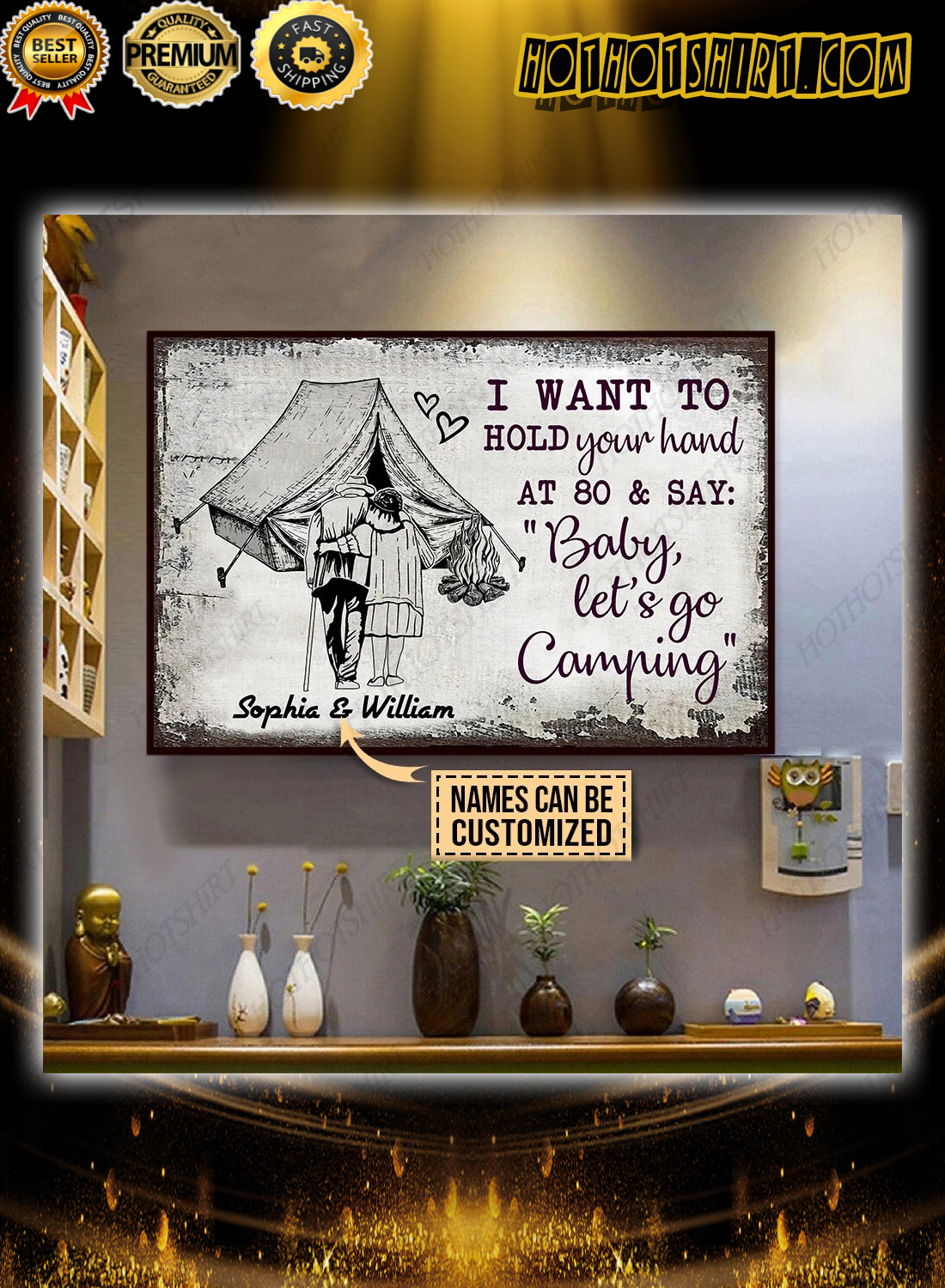 Personalized baby let's go camping Poster 1