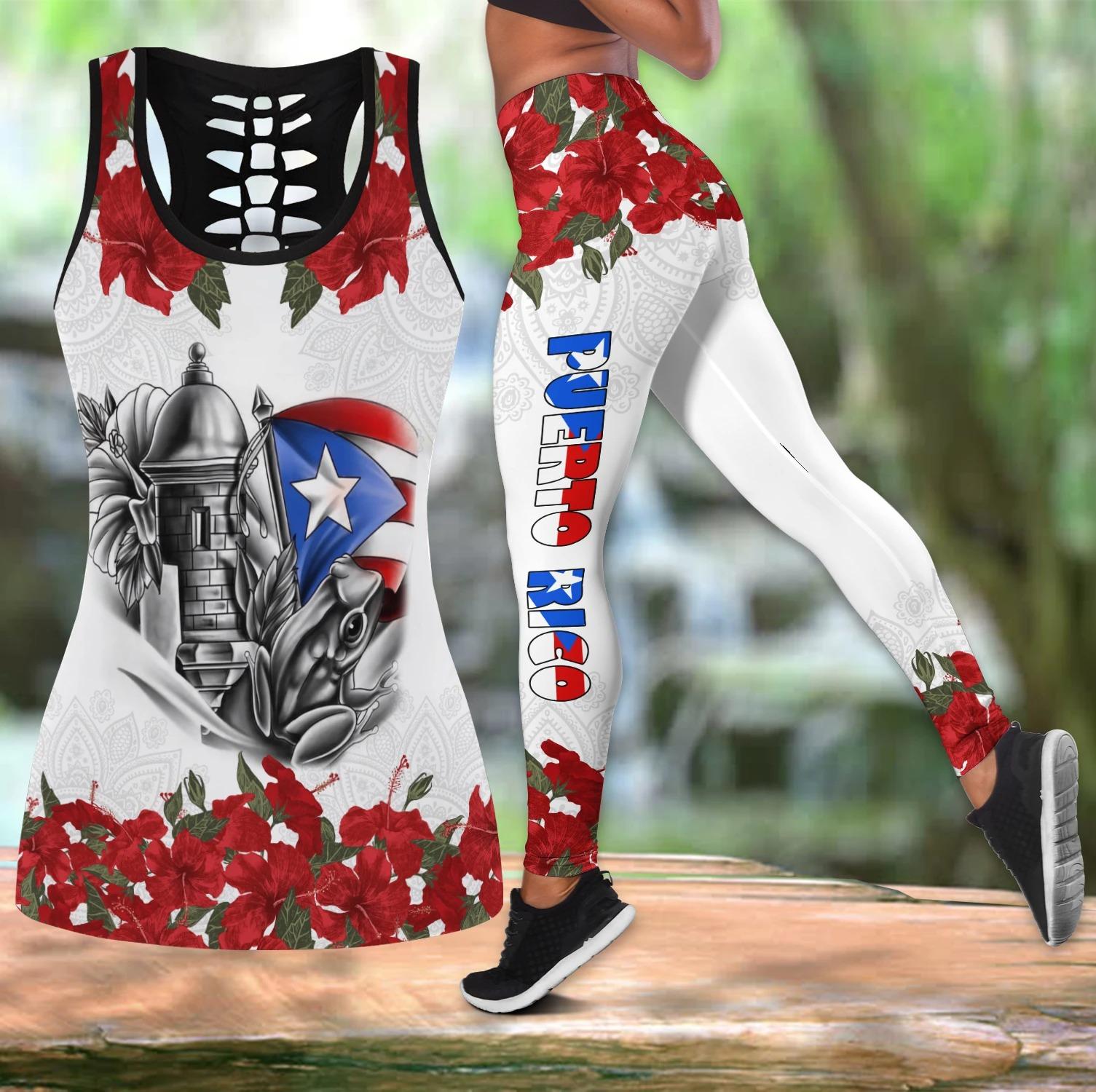 Puerto Rico maga flower hollow tank top and legging