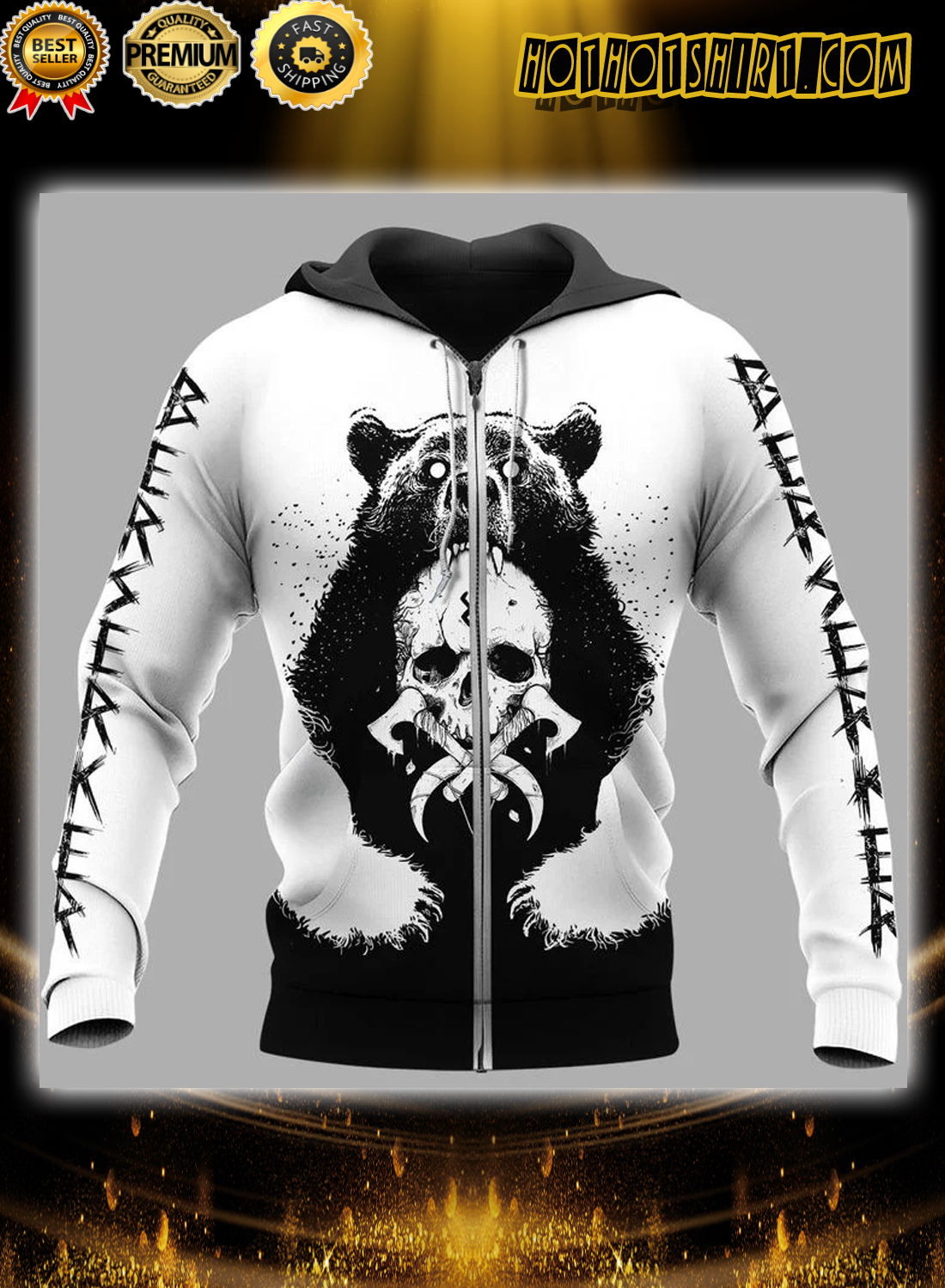 Viking bear claws and yggdrasil 3d hoodie and shirts