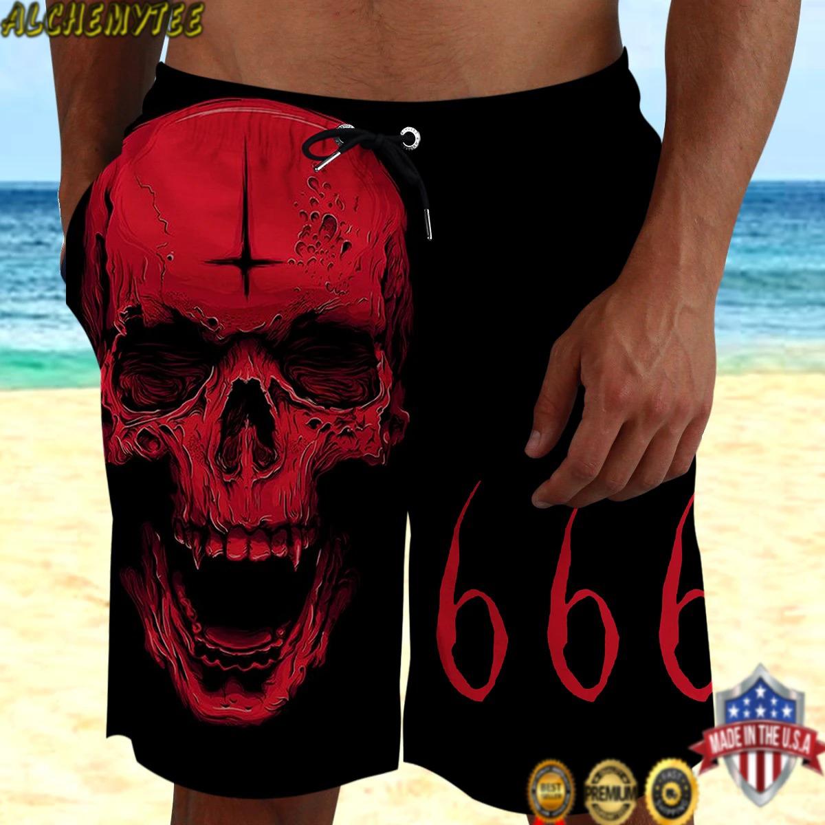 Satan Skull 666 3D Hawaiian Short
