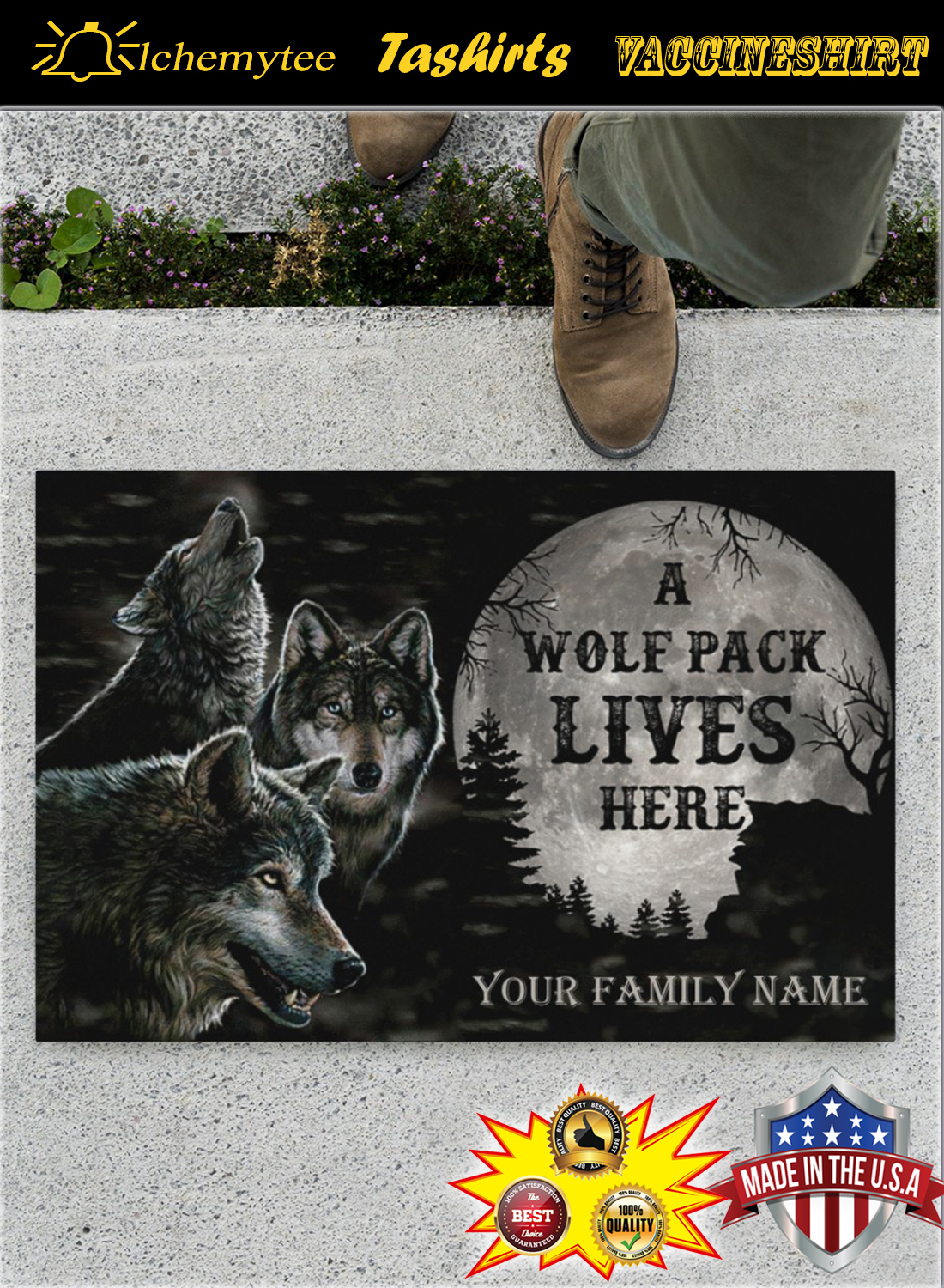 Personalized Name A Wolf Pack Lives Here Doormat